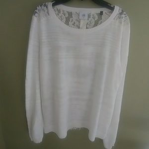 CAbi light weight white Sweater with lace back. M